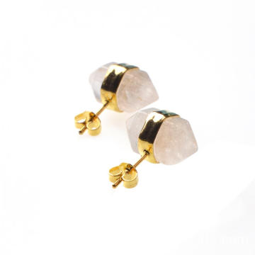 Crystal Healing Hexagon Pyramid Gemstone Stud Earrings