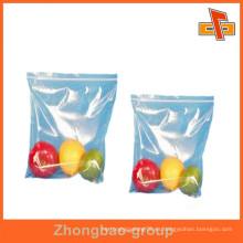 OEM Acepta el bolso transparente de la cremallera del grado de la comida para las frutas, vagetables que empaqueta