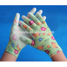 Garden gloves coated with pu palm,anti-cut,anti-static polyester gloves