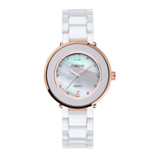 Women Shell Pearl Dial White Ceramic Strap Dress Wrist Watches