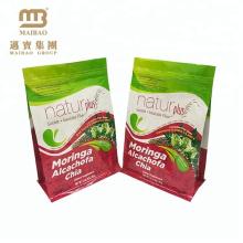 Saco de plástico Sealable do calor do empacotamento do produto comestível do zíper inferior quadrado habilitado de FDA com impressão feita sob encomenda