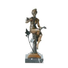 Escultura de bronce femenina figura arte talla niña estatua de latón artesanal TPE-625