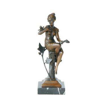 Female Bronze Sculpture Figure Art Carving Girl Home Craft Brass Statue TPE-625