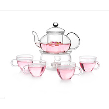 Glass Tea Pot Tea Set with Drinking Cup