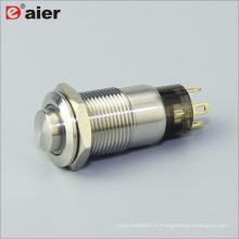 L'anneau de bouton de forme élevée de 12mm a allumé le commutateur 1NO verrouillé en métal de bouton