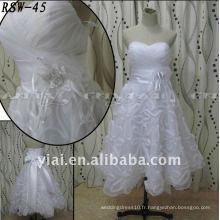 RSW45 Factory Outlet Lastest Belle fleurs artisanales à la main Big Bow Ribbon Sashes Real Excellent Robe de mariée courte personnalisée