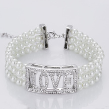 Goods high definition for Pearl Cuff Bracelet White Glass Pearl Beads Bracelet Bulk export to Bouvet Island Factory