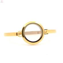 Venta al por mayor 30 mm 7 '' - 8 '' Pulsera de brazalete de cristal de los medallones de cristal del acero inoxidable del diseño del oro llano para las señoras