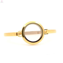 Wholesale 30mm 7''-8'' Plain Gold design stainless steel living glass lockets bangle bracelet for ladies