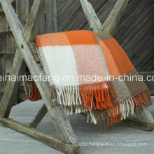 Woven Woolen Pure Virgin New Plaid Wool Throw