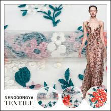 O melhor preço de flores multicolor da tela do bordado do desenhista para vestidos de casamento