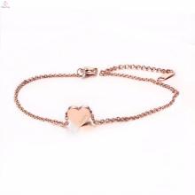 Bracelet de cheville à breloques en forme de cœur en acier inoxydable rose extensible