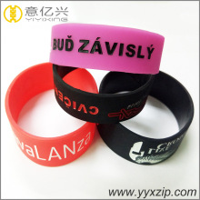 Fashional Style Logo Printed Wide silicone bracelet