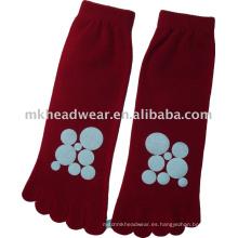 2013 nuevo calcetín de cinco dedos del pie del algodón que viene con la impresión del círculo