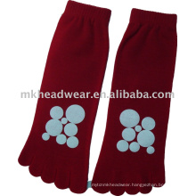 2013 new coming cotton five-toe sock with circle printing