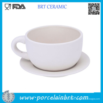 High Quality Latte Ceramic Coffee Cup with Saucer