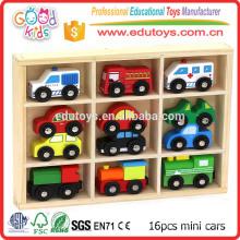 16pcs Mini carros de madeira de design diferentes, carros de brinquedos de bebê Carro de polícia de madeira