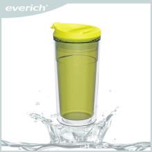 350ml BPA freier doppelwandiger Plastikbecher mit Klappdeckel