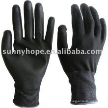 Luvas revestidas de preto com forro de nylon 13G