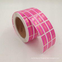 etiqueta cosmética del perfume del papel de oro del material de papel para el sello de la botella