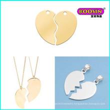 Fashion Jewelry Design Cheap Alloy Gold Necklace Broken Heart Pendant