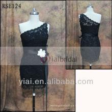 RSE124 Negro vestido de cóctel de encaje tamaño Plus