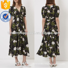 Black Floral Print V-neck Tea Dress Manufacture Wholesale Fashion Women Apparel (TA4058D)