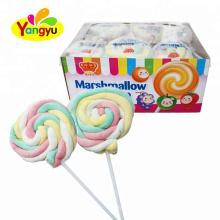 Wholesale Halal Colorful Fruity Twist Marshmallow Pop Lollipop