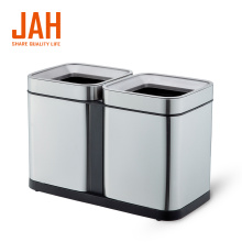 Poubelle de recyclage à double bac en acier inoxydable JAH 430