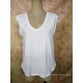Mode Bambus Baumwolle V-Ausschnitt Benutzerdefinierte Großhandel Mädchen T-Shirt