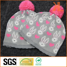 100% Acrylic Jacquared Knitted Hat with Pompom for Babies