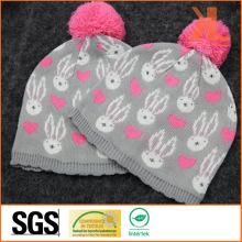 100% акриловая жаккардовая вязаная шапка с помпоном для младенцев