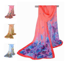 2017 nueva llegada de moda estampado de flores de colores patrón de gasa larga hiyab bufanda chal