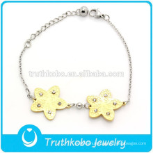 TKB-JB0005 Beautiful cute hexagram full of crystal rhinstone two tone 316L stainless steel girls bracelets