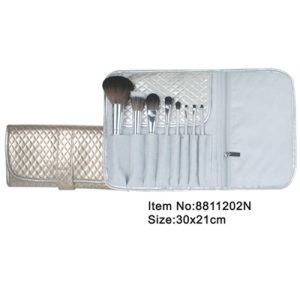 8pcs gray plastic handle animal/nylon hair makeup brush kit with elegant case