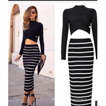 Women′s Maxi Long Sleeve Two Piece Pencil Skirt Stripe Dress