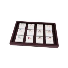 Faux Leder 12 Inlays Ring Display Organizer Tray (TY-12R-WBLS)