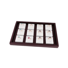 Faux Leather 12 Inlays Ring Display Organizer Tray (TY-12R-WBLS)
