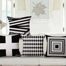 Einfache schwarze und weiße geometrische Baumwolle und Leinen Kissen Kissenbezüge