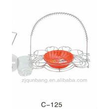 Porta copa de aço inoxidável elegante e suporte circular de bule de vidro