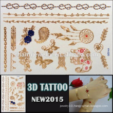 OEM wholesale gold design tattoo beautiful design for body high quality 3d Temporary tatoo Sticker YH 020