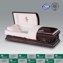 Cercueil fabricants LUXES Style américain MDF placage cercueil Pieta-Cross