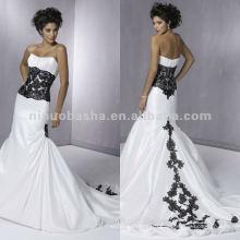Elegant strapless appliques noires taille et dos chemise robe de mariée / robe de soirée