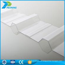 Folhas de cobertura de plástico transparente em policarbonato ondulado de peso leve