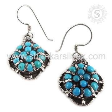 Потрясающий бирюзовый ювелирных изделий драгоценных камней 925 серебряные серьги индийские серебряные ювелирные изделия