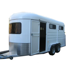 white gooseneck horse float with roof