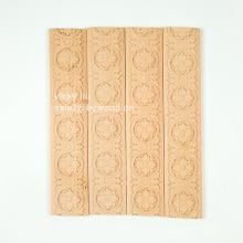 Décoration de meuble non peinte à fleurs sculptées moulurées de lignes en bois