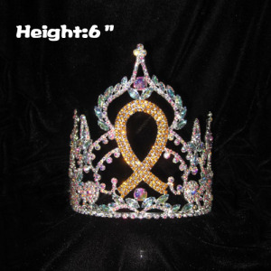6inch Crystal Gold Ribbon Pageant Crowns