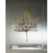 Acrylic Paperweight with Leaf Embedment