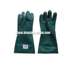 Sandy Finish Guantlet Cuff Green PVC Glove-5125. Gn